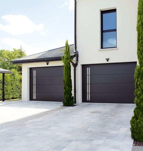 porte de garage motif ligné